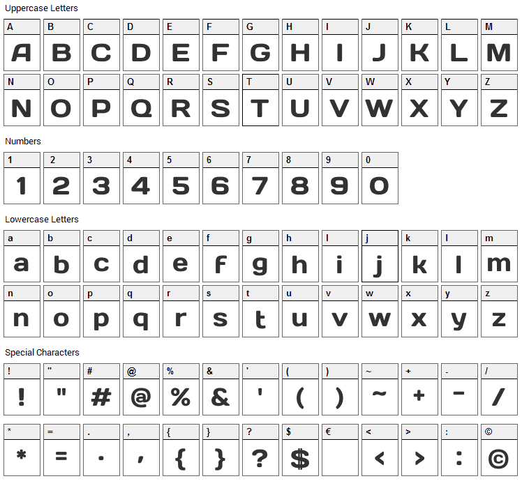 Days One Font Character Map