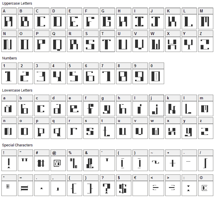 DBE Lithium Font Character Map