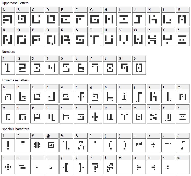 DBE Nitrogen Font Character Map