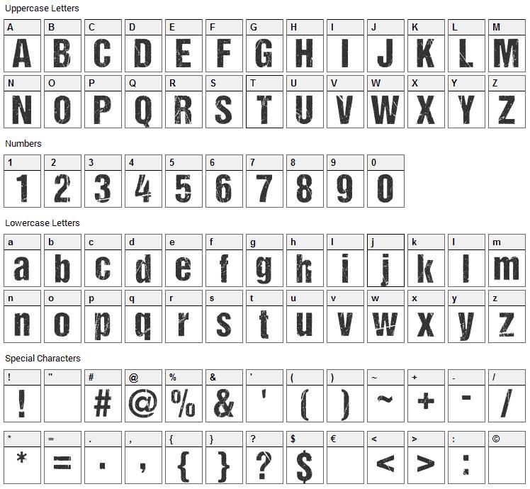 DCC Ash Font Character Map