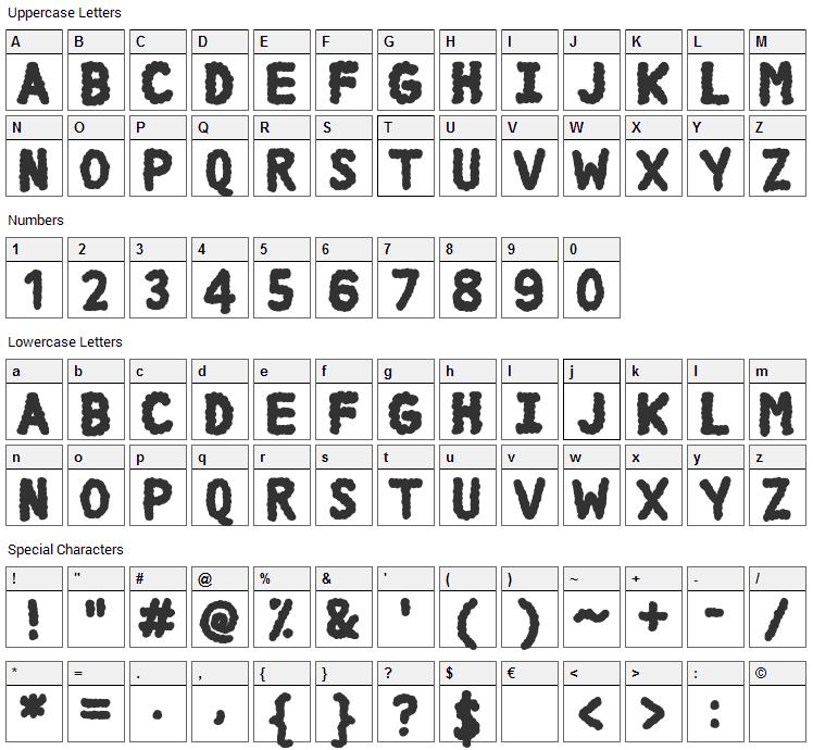 DCC Cloud Font Character Map