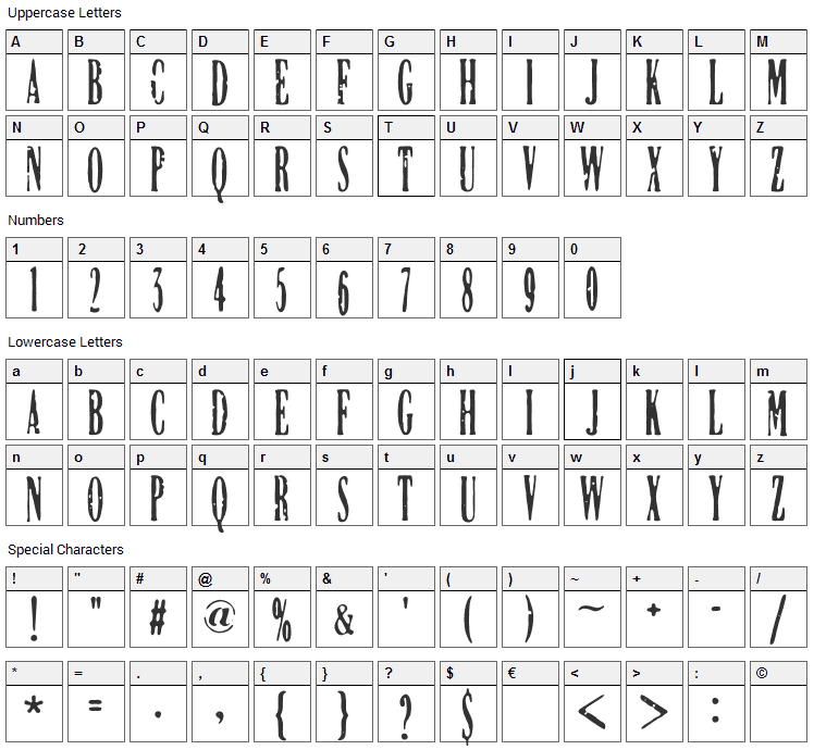 DCC Manifest Font Character Map