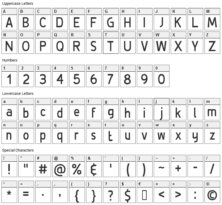 De Luxe Font Character Map