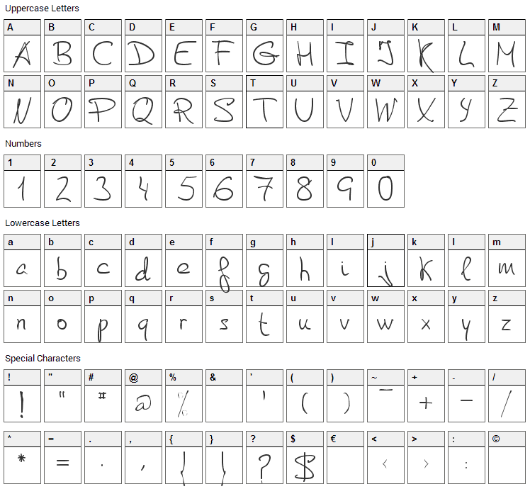 De Manu 2 Font Character Map