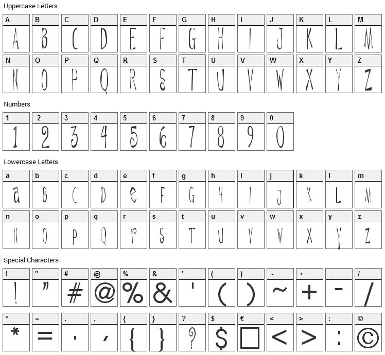 De Ttnorm Font Character Map
