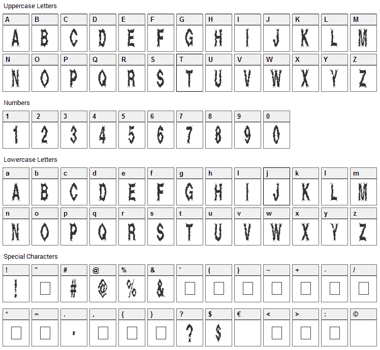 Dead Alive Font Character Map