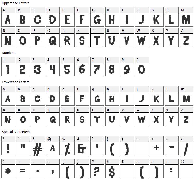 Dead Font Walking Font Character Map