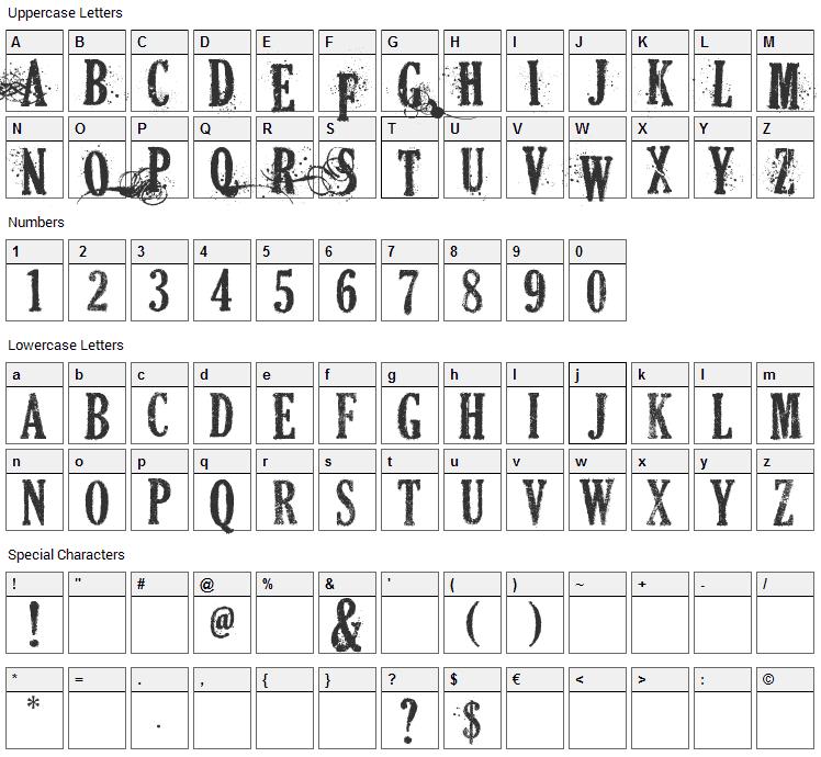 Dead Secretary Font Character Map