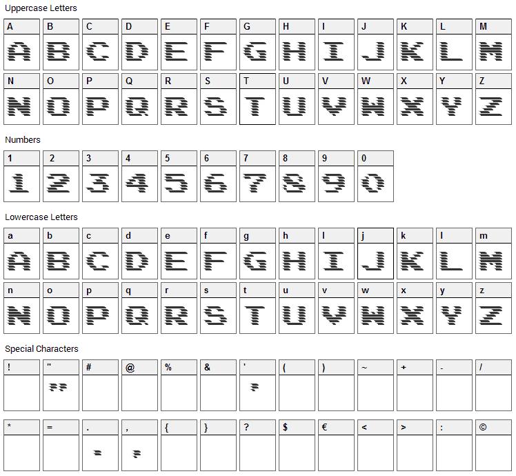 DeadCRT Font Character Map