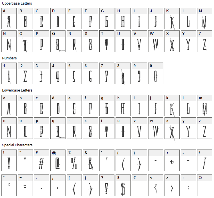 Deadly Black Chain Font Character Map
