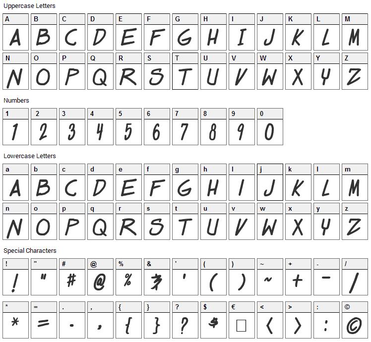 Dealspinner Font Character Map