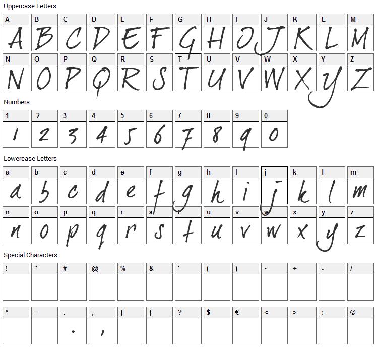 Dear Joe 2 Font Character Map