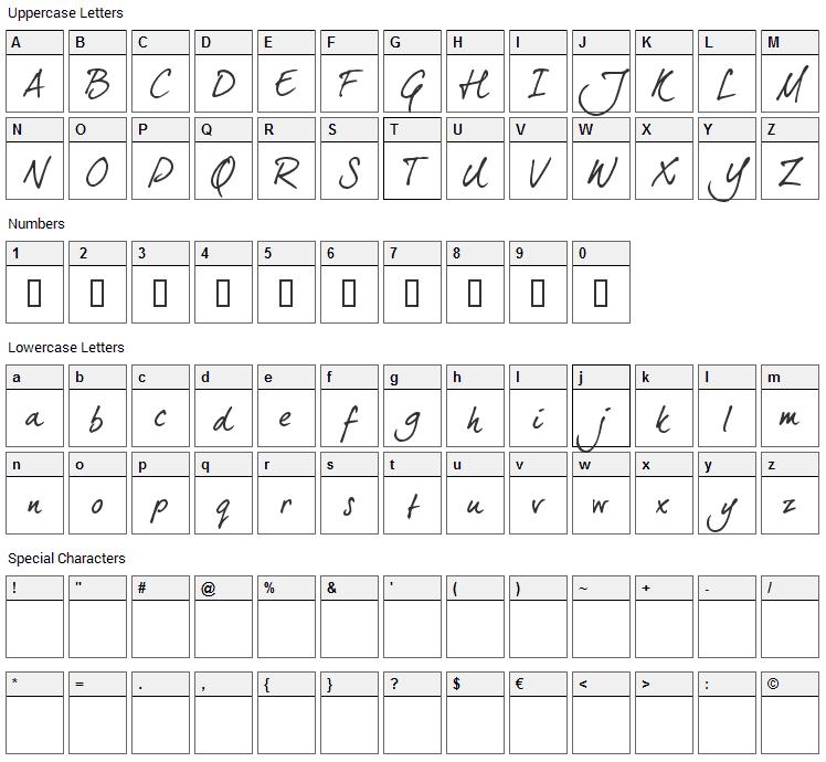 Dear Joe 5 Casual Font Character Map