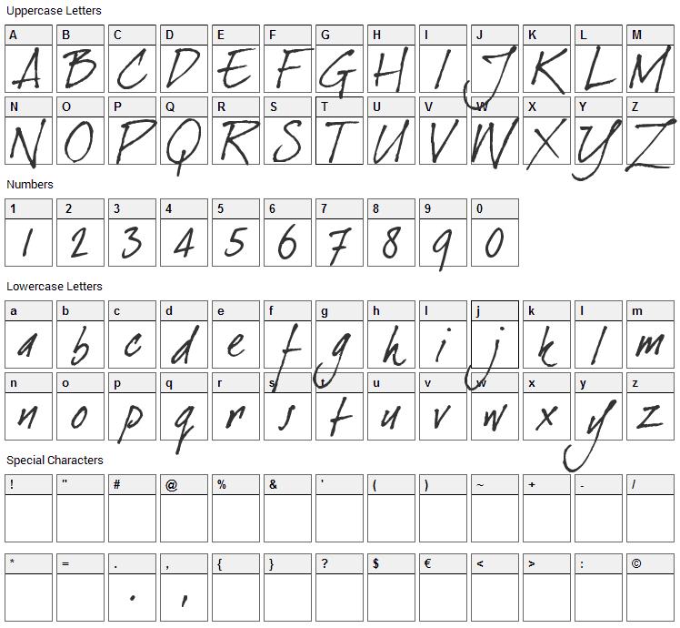 Dear Joe Font Character Map