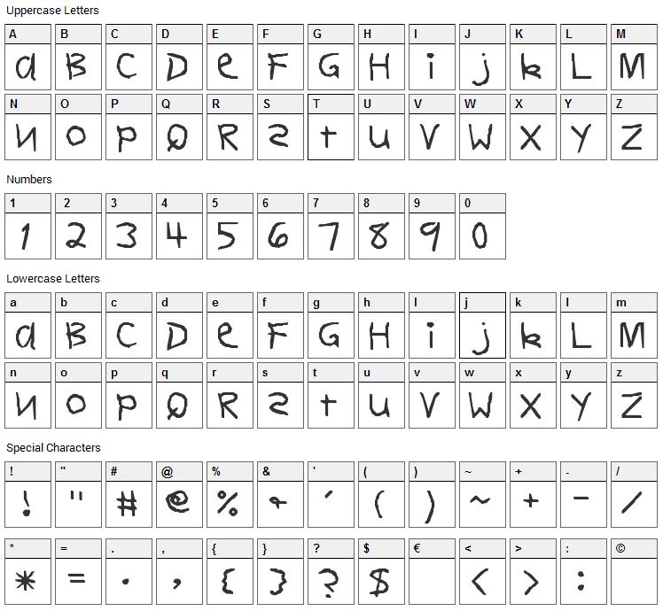 Dear Teacher Font Character Map