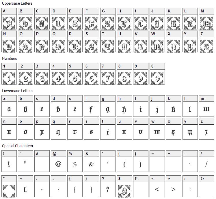 Dearest Friend Font Character Map