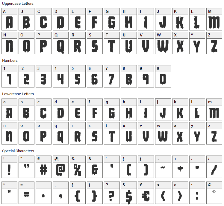 Deathblood Font Character Map