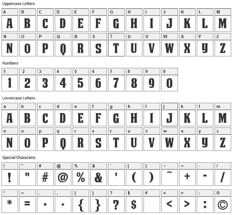 Deathe Maach Font Character Map