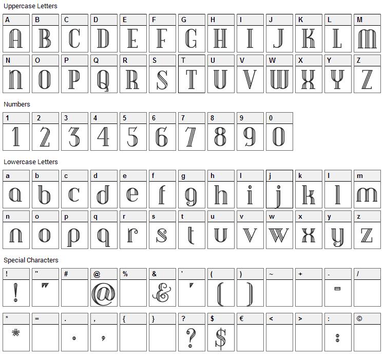 Debonair Inline Font Character Map