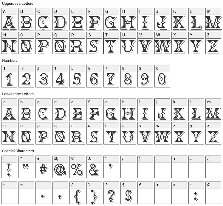 Deborah Font Character Map