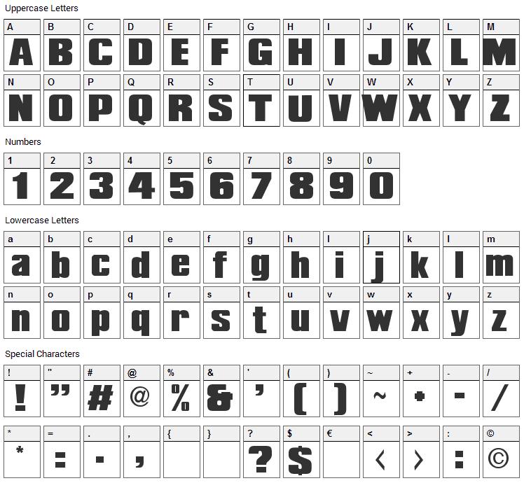 Deborah TEH Font Character Map