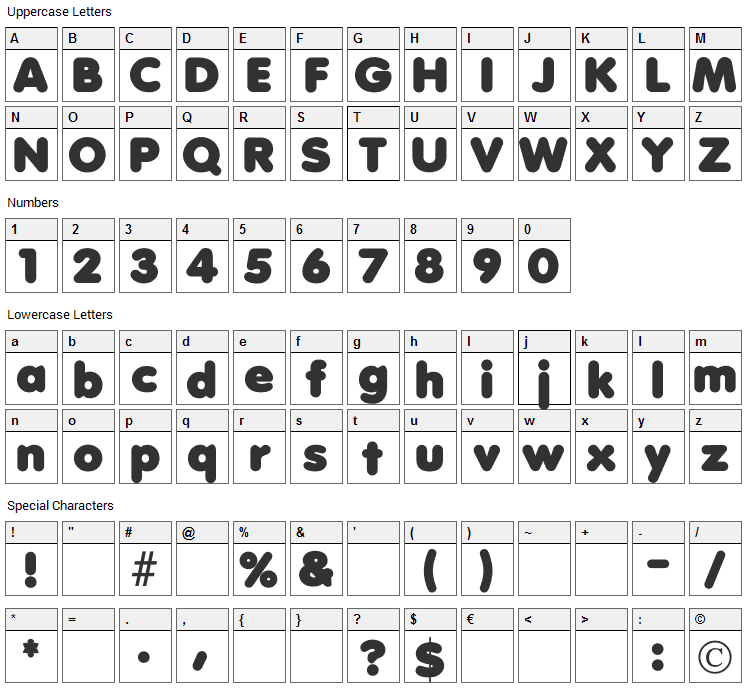 Debussy Font Character Map