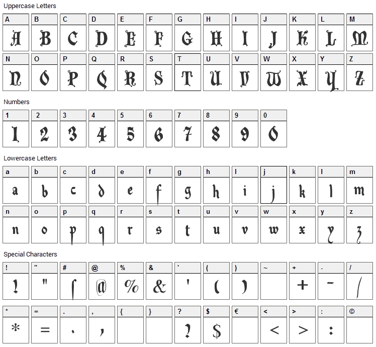 Decadenta Frax Font Character Map