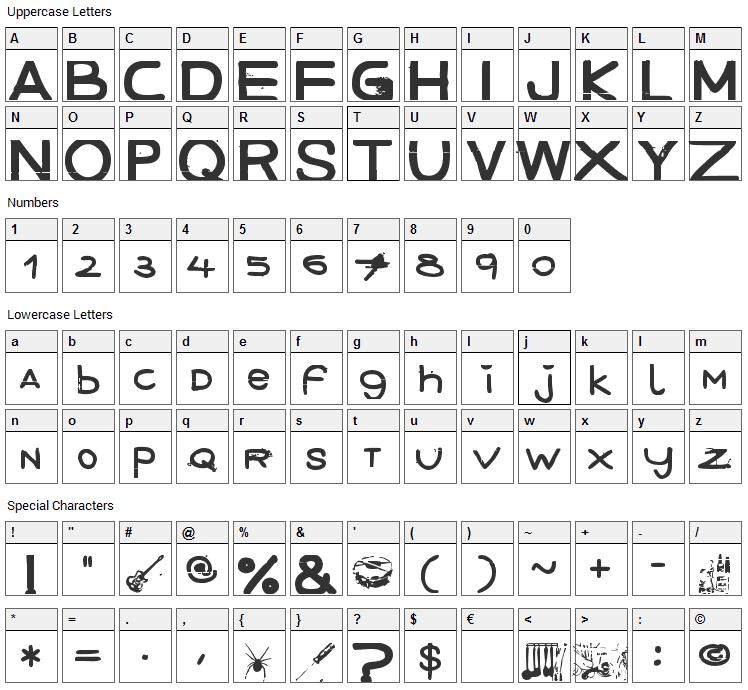 December Handmade Font Character Map