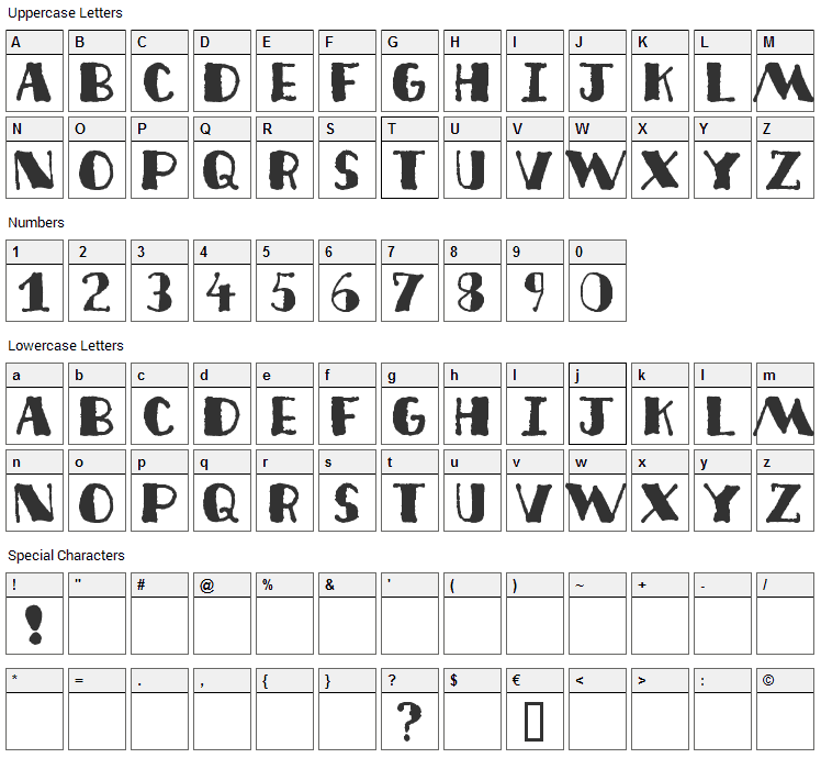 Deco Freehand Font Character Map
