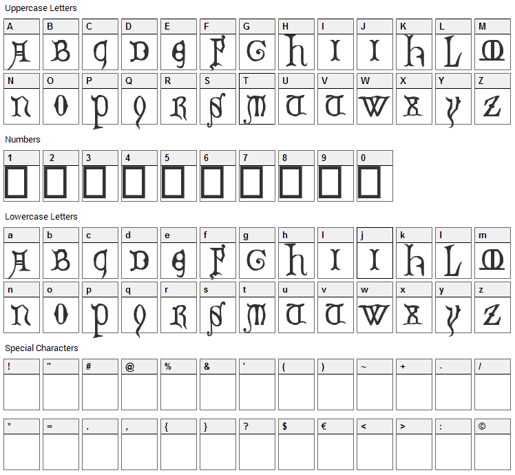 Decorated Majuscules Font Character Map