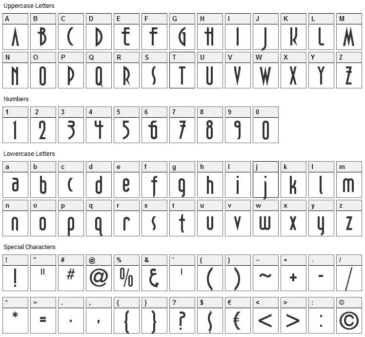 DecoTech Font Character Map