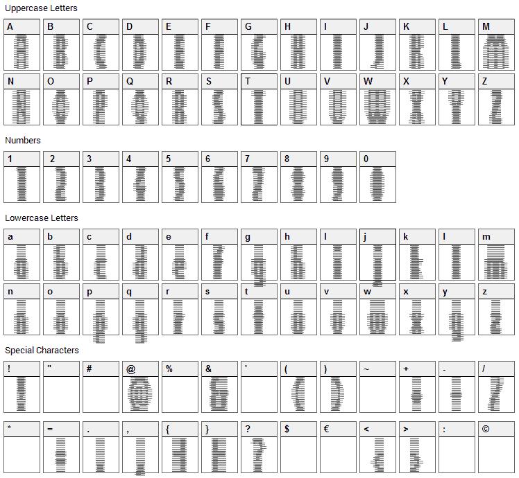 Deeter Font Character Map