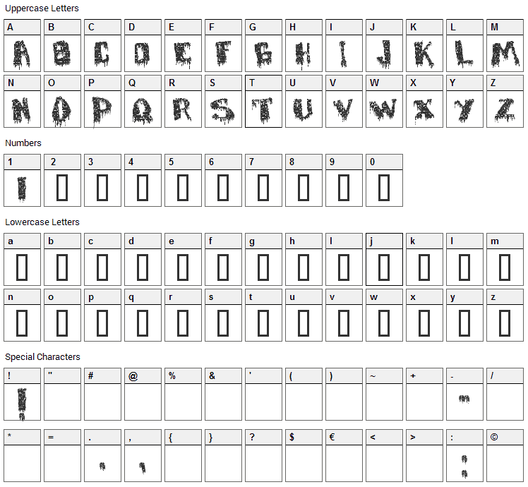 Defaced Font Character Map