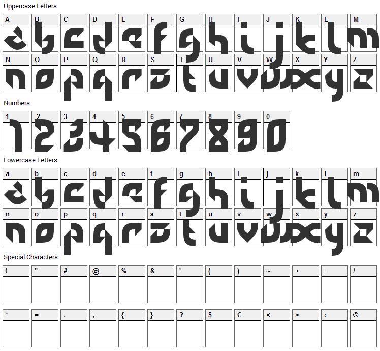 DefaultError Font Character Map