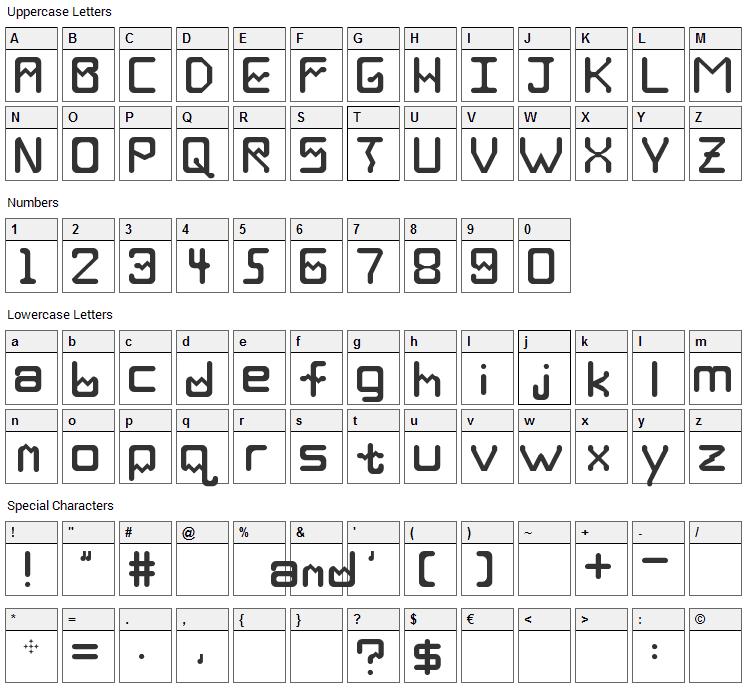 Deka Font Character Map