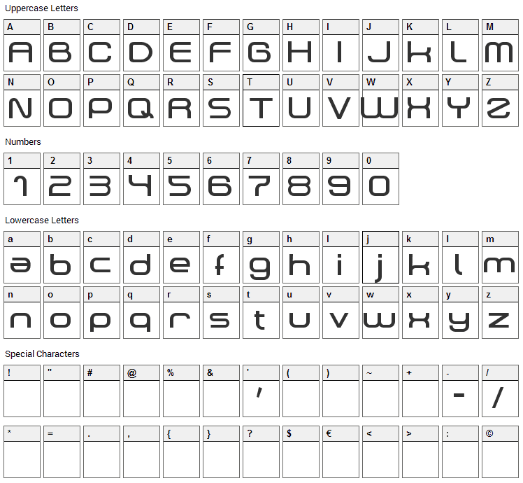 Dekers Font Character Map