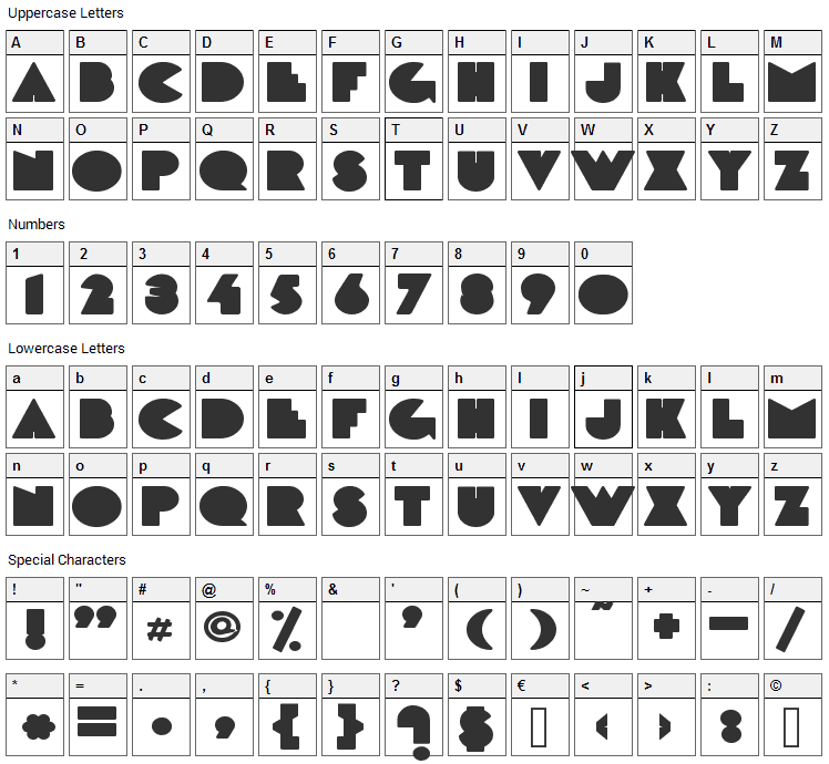 DeLarge Font Character Map