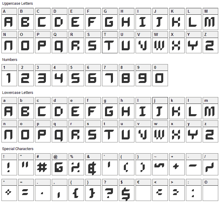 Delilah Font Character Map