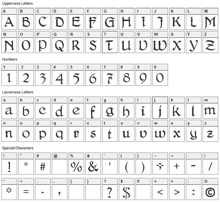 Delitsch Antiqua Font Character Map