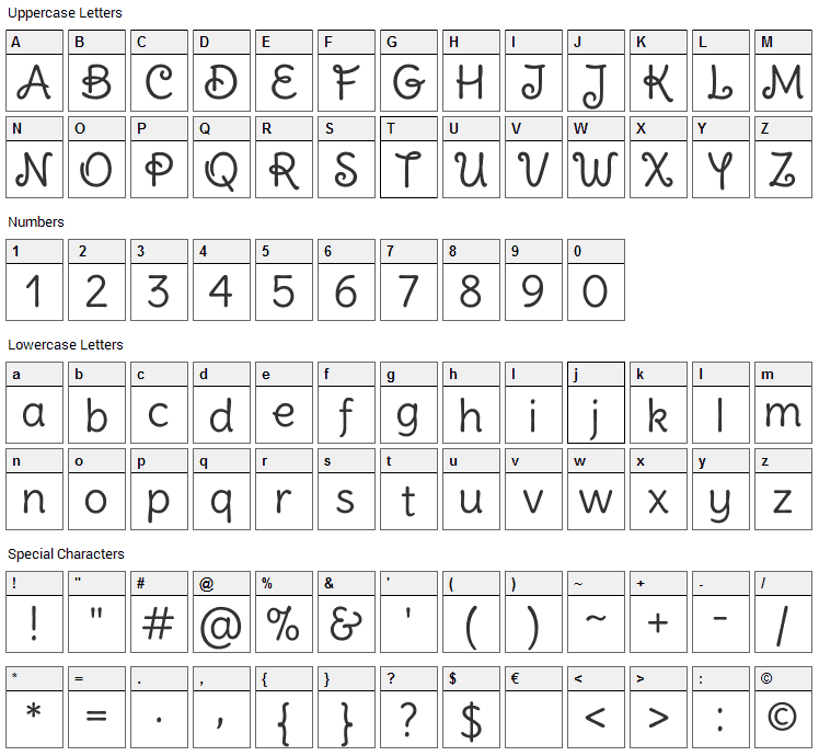 Delius Swash Caps Font Character Map
