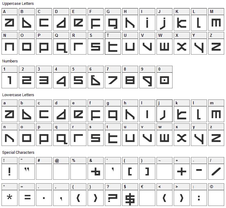 Delta Echo Font Character Map