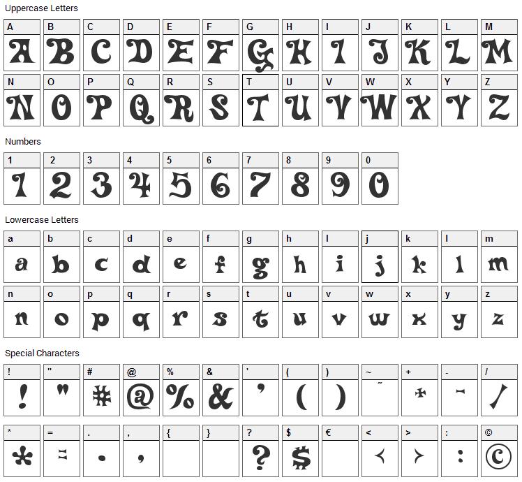Delta Hey Max Nine Font Character Map