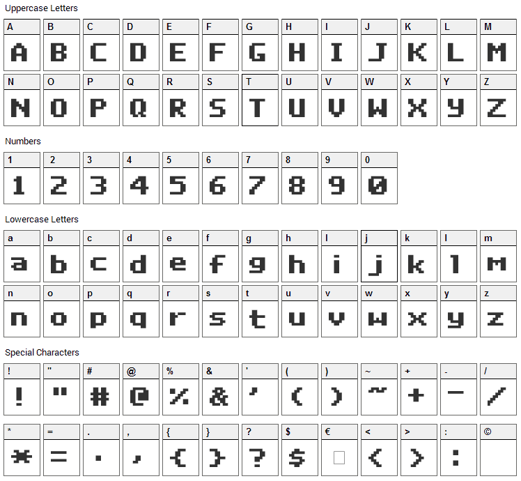 Deluxe Font Character Map