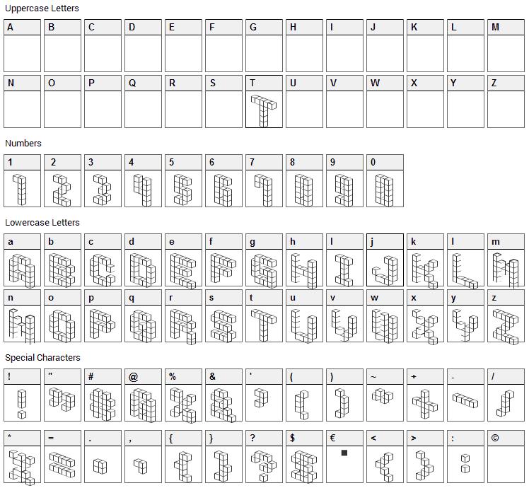 Demon Cubic Block Font Character Map