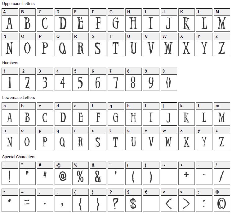 Demon Night Font Character Map