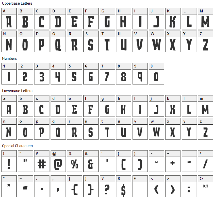 Demon Priest Font Character Map