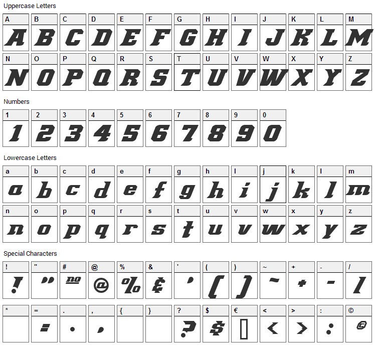 Demonized Font Character Map