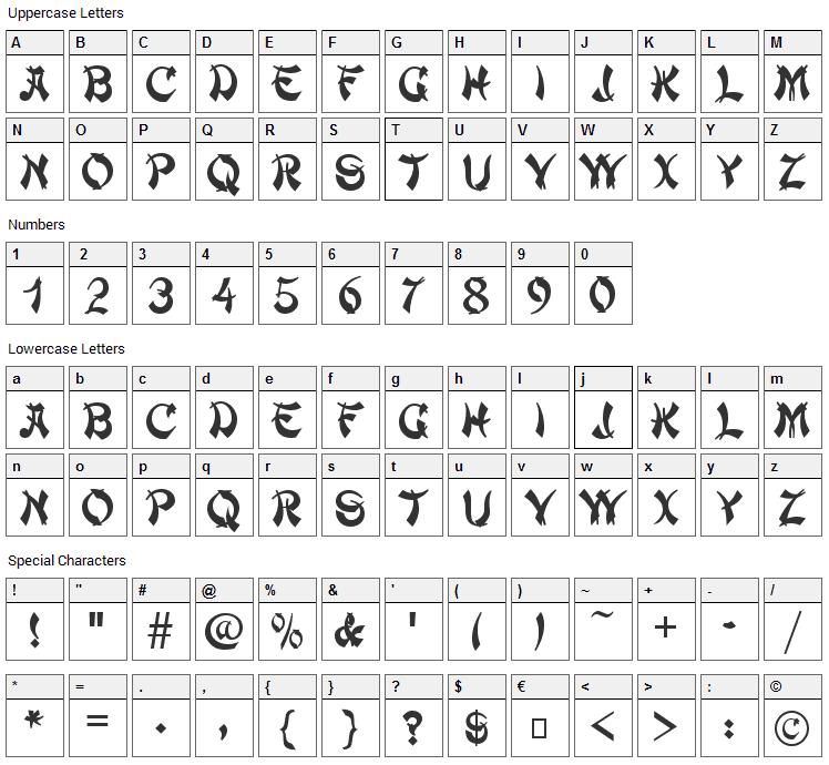 Deng Thick Font Character Map