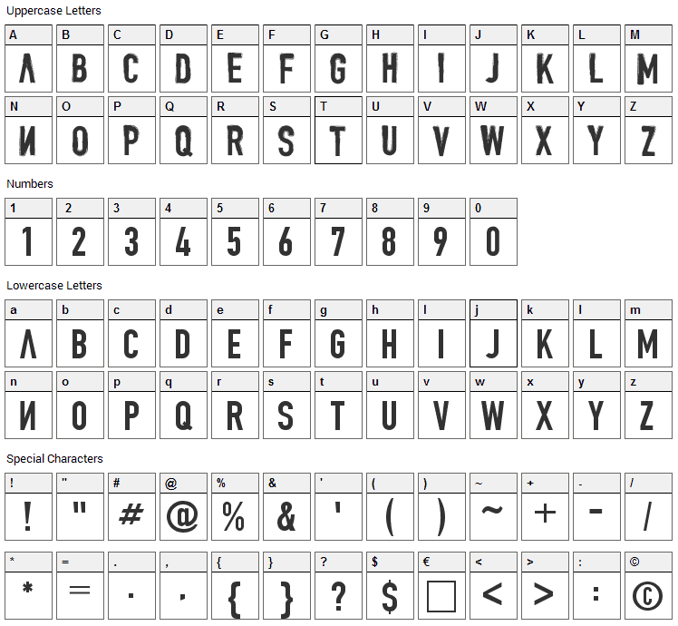 Denial Font Character Map