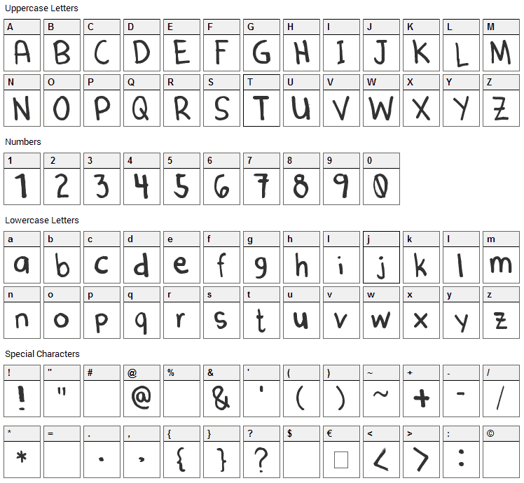Denne Marker Font Character Map